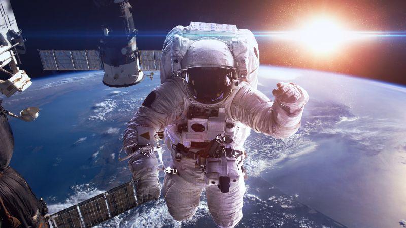 Astronaut, Earth, Sun, Space suit, Space station, Space Adventure, Satellite, Wallpaper