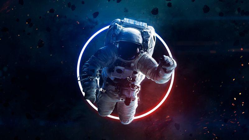 Astronaut, Asteroids, Space suit, Neon light, Space Travel, Space Adventure, Wallpaper