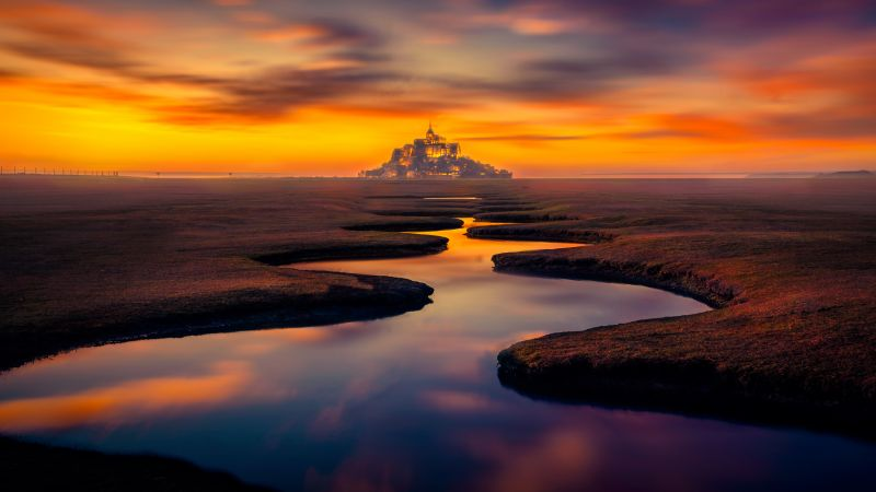 Mont Saint-Michel, Landscape, Island, River, Castle, Normandy, France, Sunset Orange, Wallpaper