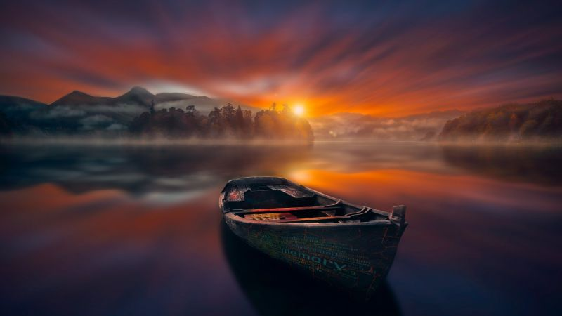 Sunset, Boat, Lake, Reflections, Dawn, Mountains, Fog, Trees, 5K, Wallpaper