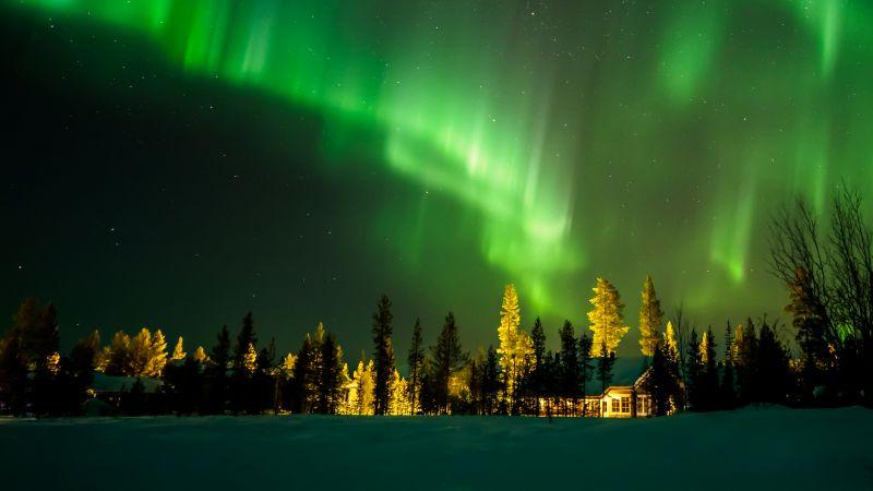 Aurora Borealis, Aurora sky, House, Night, Wallpaper