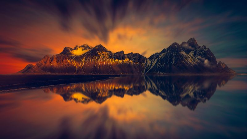 Mountains, Snow covered, Glacier, Reflection, Lake, Dawn, 5K, Wallpaper