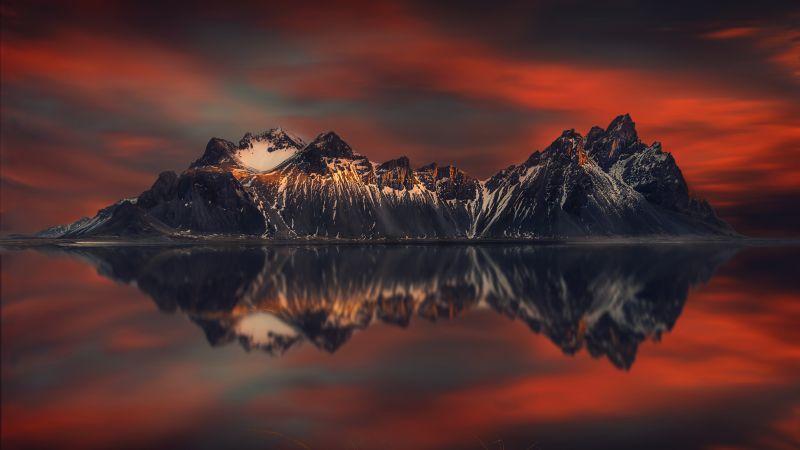 Mountains, Sunset Orange, Lake, Reflection, Scenery, Snow covered, Beautiful, 5K, 8K, Wallpaper