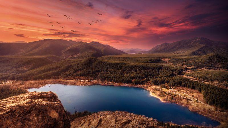 Lake, Sunset, Mountains, Landscape, Birds, Purple sky, Evening, Dawn, Scenic, Wallpaper