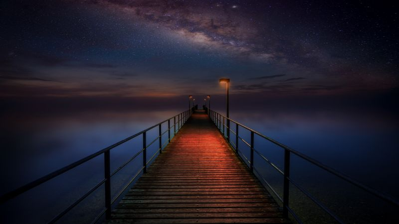 Wooden pier, Night sky, Stars, Galaxy, Milky Way, Seascape, Dark, 5K, 8K, Wallpaper