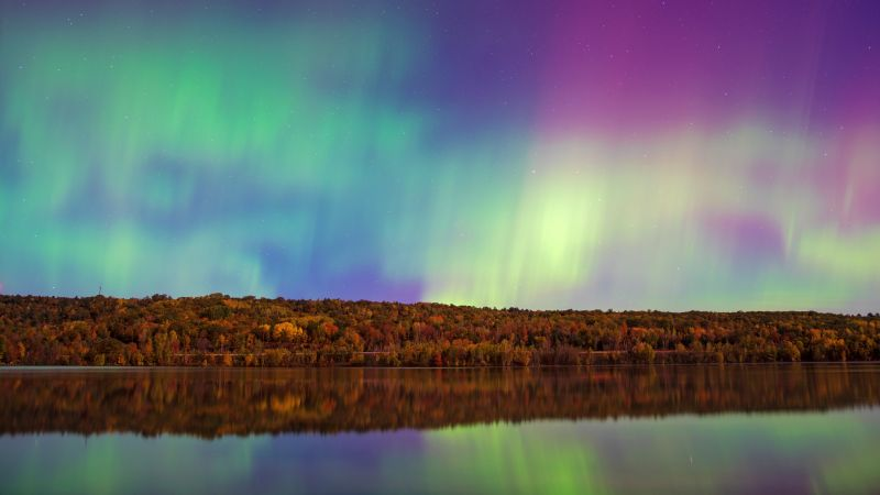 Aurora sky, Forest, River, Reflections, 5K, Wallpaper