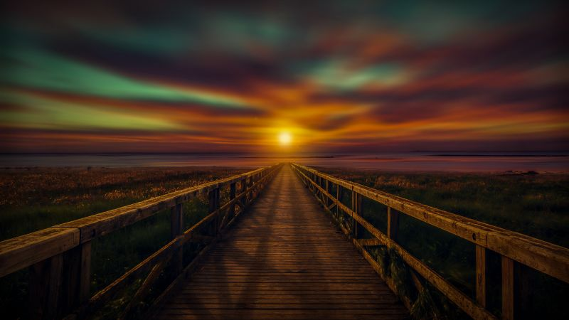 Wooden pier, Sunset, Bridge, Dawn, Dusk, Vacation, Holidays, 5K, Wallpaper
