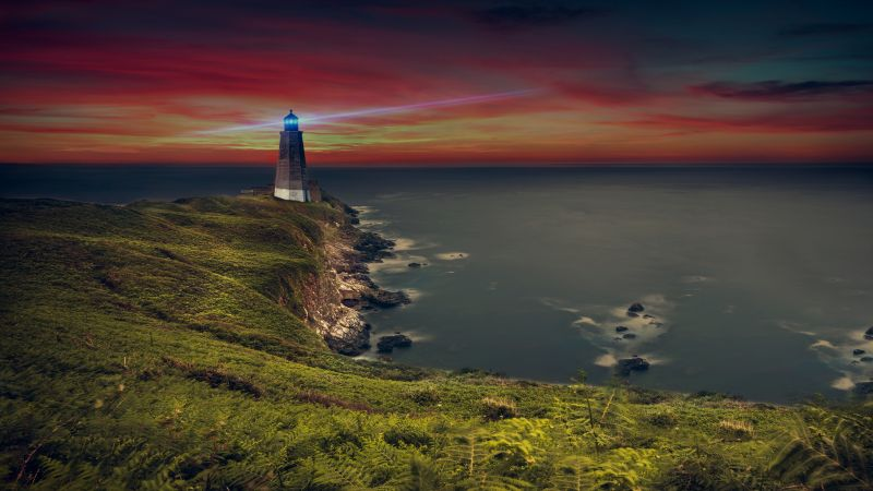 Lighthouse, Coastline, Ocean, Purple sky, Evening, Seascape, Seashore, 5K, Wallpaper