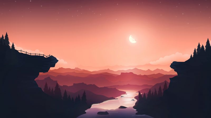 Sunset, Moon, River, Mountains, Gradient background, Peach background, Aesthetic, Wallpaper