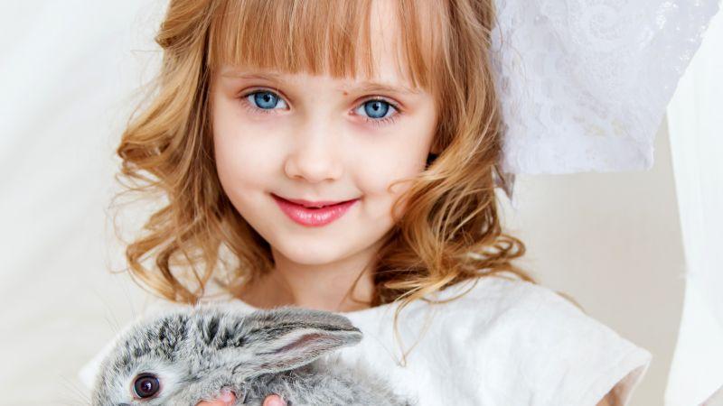 Cute Girl, Rabbit, Smiling girl, White, Blue eyes, Happiness, Wallpaper