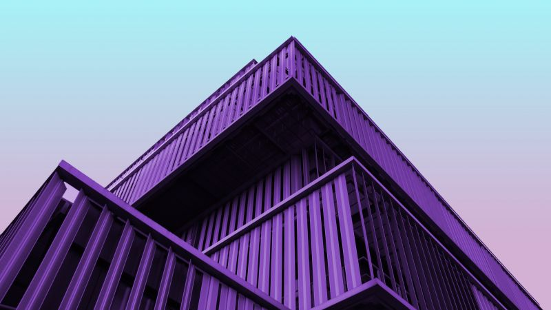 Modern architecture, Contemporary, Purple, Building, Clear sky, Wallpaper
