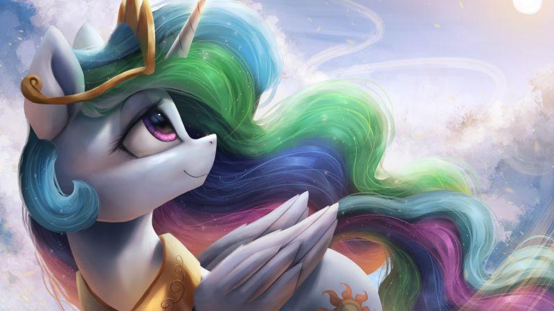 Princess Celestia, My Little Pony Friendship is Magic, Rainbow colors, Wallpaper