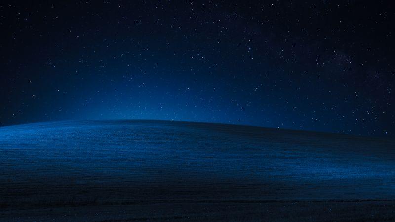 Windows XP, Landscape, Hills, Dark, Night, Blue, Stock, Wallpaper