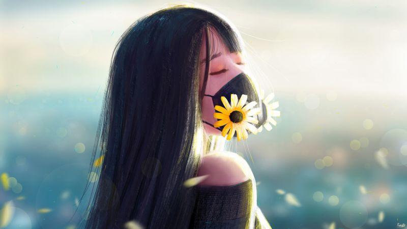 Girl, Mask, Flowers, Mood, Calm, Feeling, Artwork, Girly backgrounds, Wallpaper