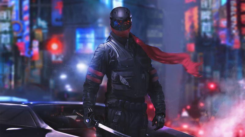 Ninja Warrior, Cyberpunk, Katana, Futuristic, Wallpaper