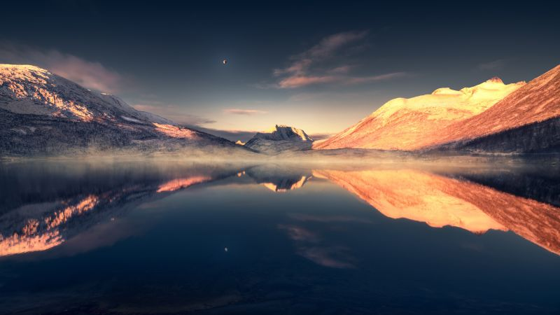 Mountains, Lake, Evening, Reflection, Scenery, Tranquility, Moon, Landscape, Aesthetic, 5K, 8K, Wallpaper