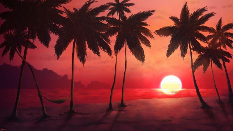 Sunset, Tropical, Trees, Silhouette, Dawn, Warm, Wallpaper