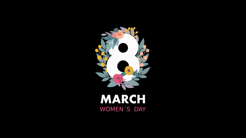 Woman's Day, March 8th, Black background, Minimalist, 5K, Wallpaper