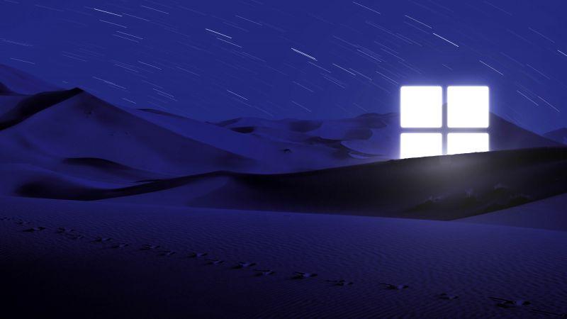 Desert, Night, Blue, Windows logo, Glowing, Star Trails, Illuminated, 5K, Wallpaper
