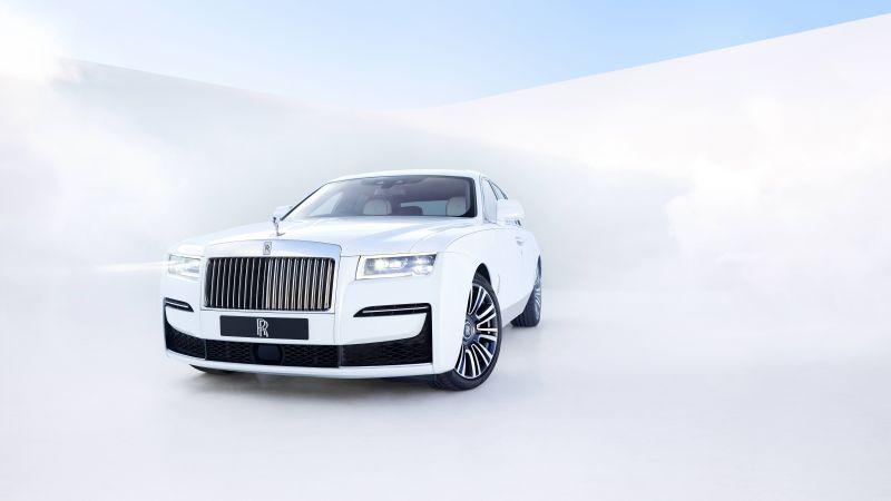 Rolls-Royce Ghost, 2020, White background, 5K, 8K, Wallpaper