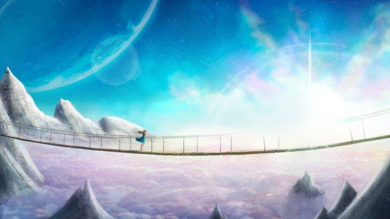 Girl, Dream, Bridge, Supernova, CGI, Artwork, 5K, Wallpaper