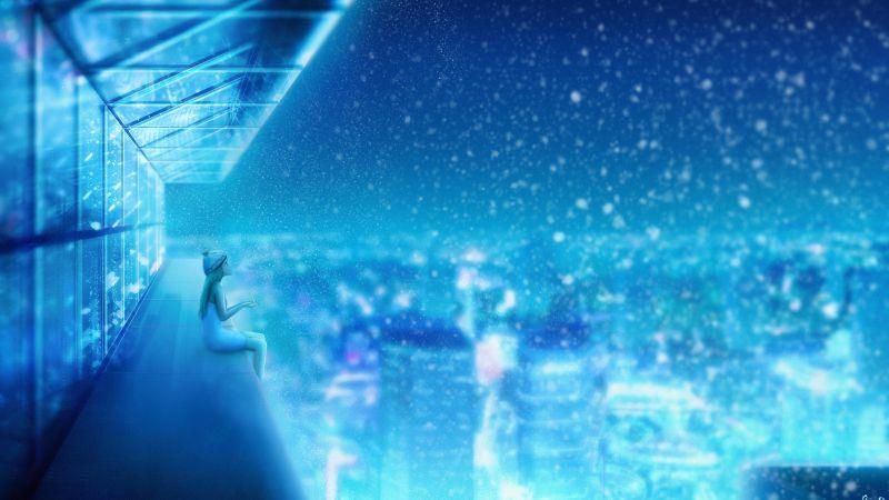 Girl, Dream, Snowfall, Cityscape, Winter, Blue, Atmosphere, Girly backgrounds, Wallpaper