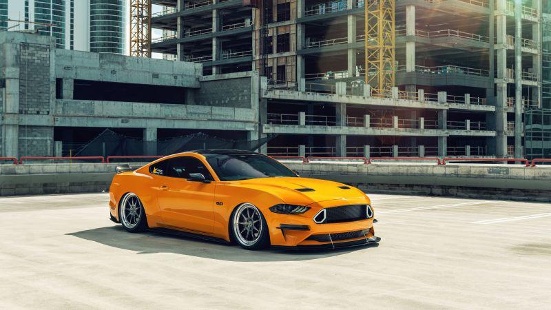 Ford Mustang, Orange cars, Custom tuning, 5K, Wallpaper