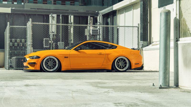 Ford Mustang, Orange cars, Custom tuning, 5K, 8K, Wallpaper