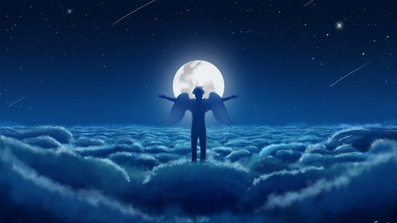 Moon, Above clouds, Dream, Man, Wings, Night, Blue, Moonlight, 5K, Wallpaper