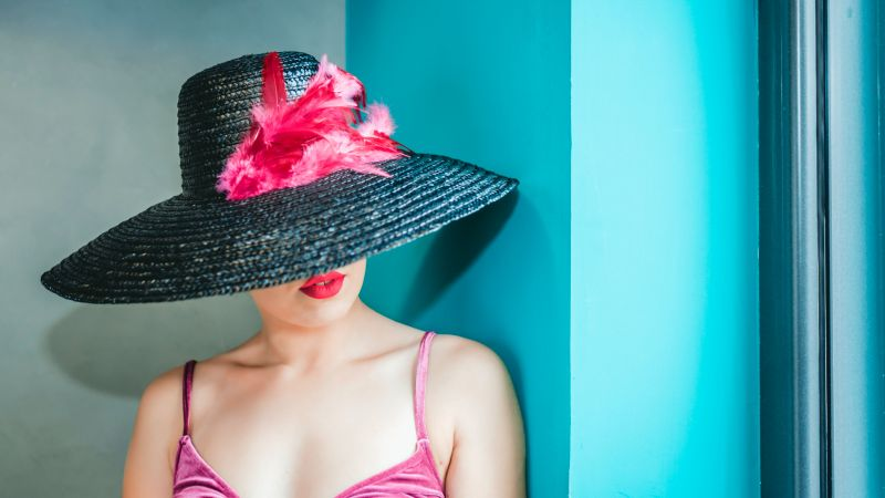 Woman, American, Cami top, Hat, Girly, Red lips, Pink, 5K, 8K, Wallpaper