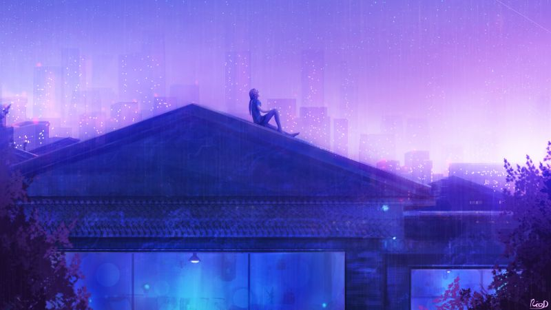 Girl, Rooftop, Looking up at Sky, House, Home, Dream, Whale, Starry sky, Night, Cold, Purple, Wallpaper