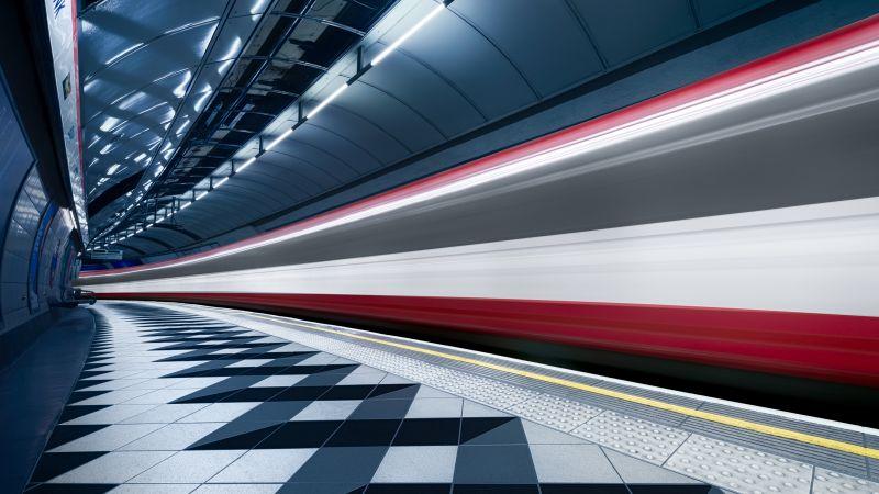 Bank Station, Blurred, Train, London, England, Underground, Subway, Metro, Journey, Tube Train, Fast, 5K, 8K, Wallpaper