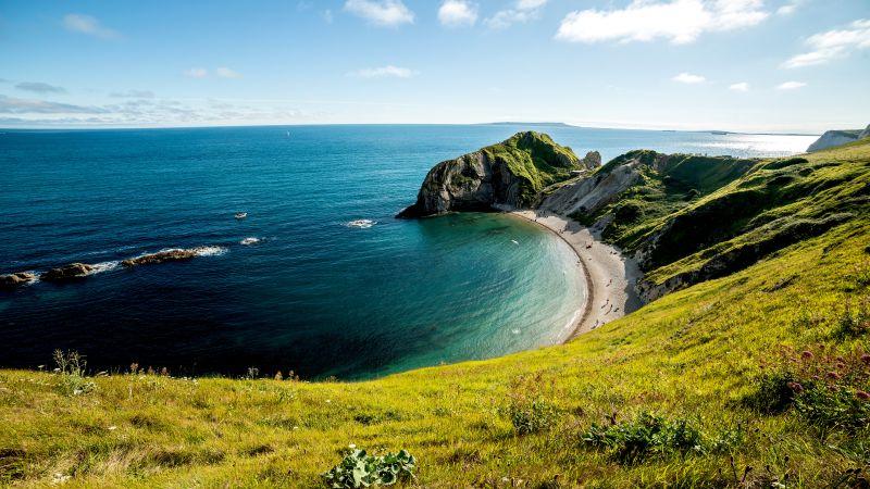Durdle Door, Coastline, Beach, Dorset, England, 5K, Wallpaper