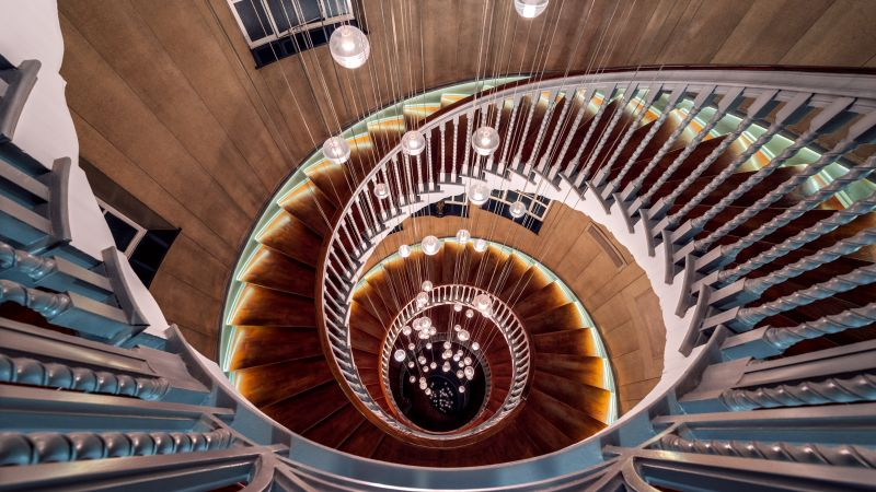 Spiral staircase, Steps, Wooden, Lights, Look Down, Descent, Interior, Curves, Pattern, Aesthetic, 5K, 8K, Wallpaper