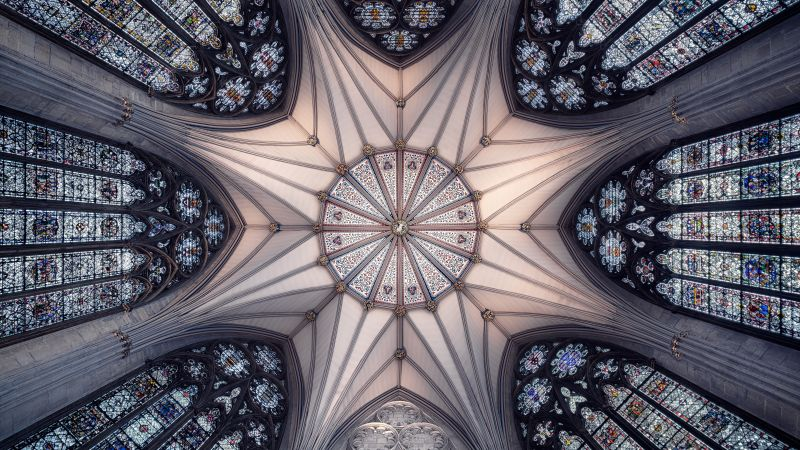 York Minster, United Kingdom, Cathedral, Church, Ancient architecture, Interior, Look up, Symmetrical, Patterns, Serene, 5K, 8K, Wallpaper