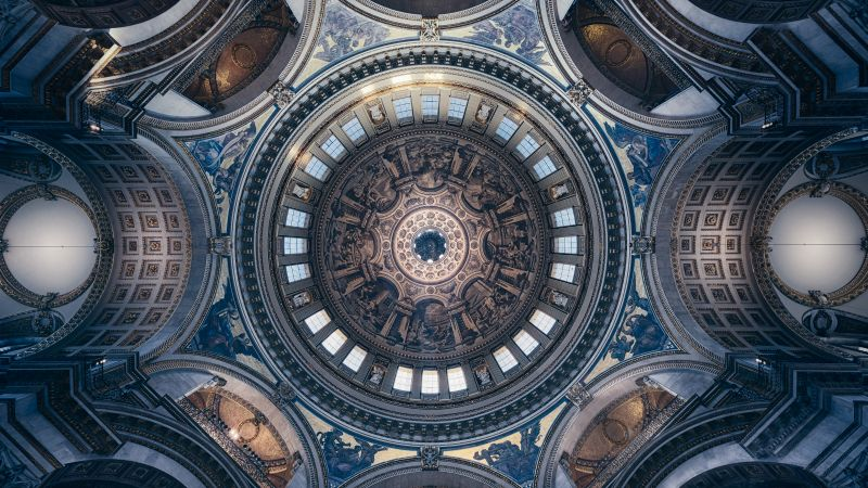 St Paul's Cathedral, United Kingdom, London, Church, Dome, Ceiling, Look up, Symmetrical, Geometric, Pattern, Interior, 5K, 8K, Wallpaper