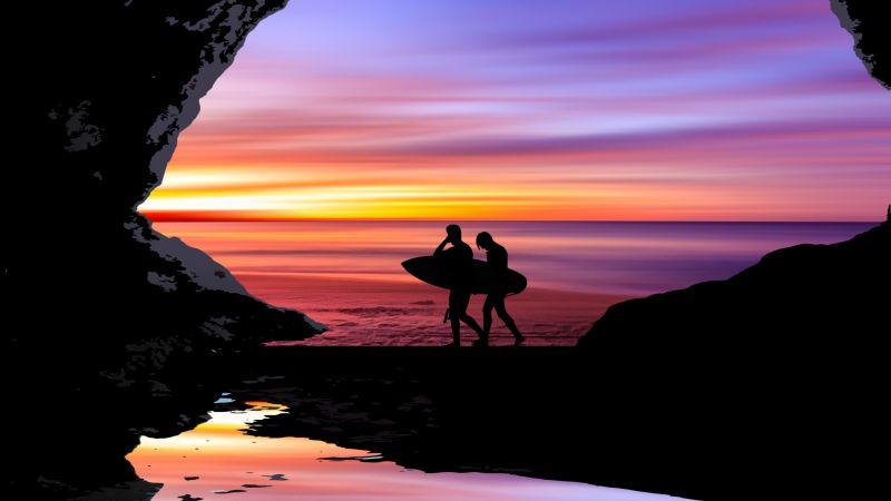 Beach, Silhouette, Cave, Surfboard, Sea, Ocean, Purple sky, Black, Sunset, Men, Wallpaper