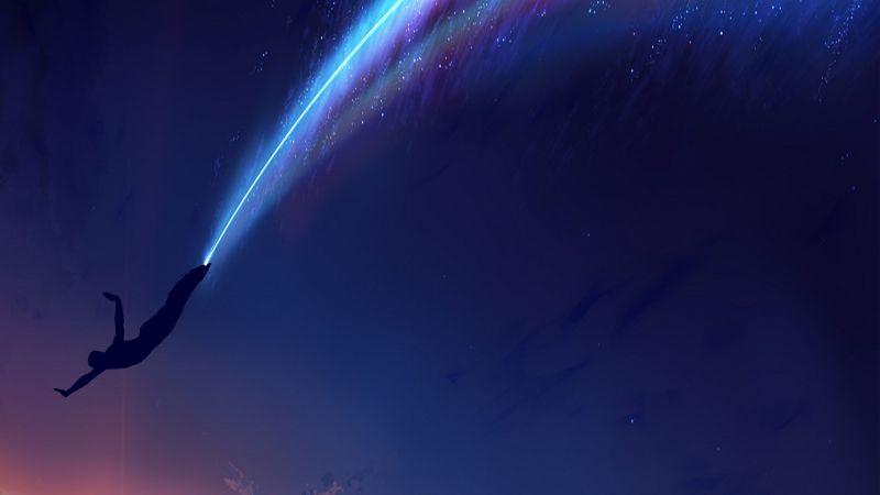 Fleeting Man, Dive, Lighting, Silhouette, Sky, Space, Meteors, Blue, Dream, Wallpaper