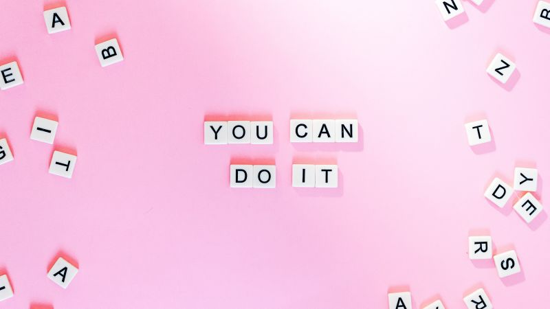 You Can Do It, Pink background, Girly backgrounds, Motivational, Popular quotes, Letters, Aesthetic, 5K, Wallpaper