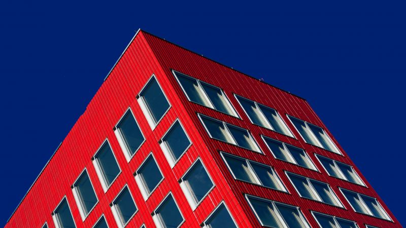 Red Building, Blue Sky, Clear sky, Geometric, Low Angle Photography, Windows, Pattern, 5K, Wallpaper