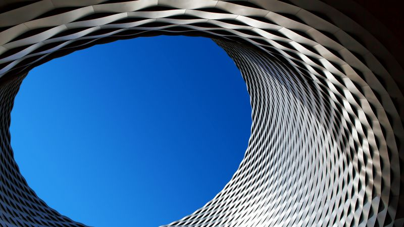 Steel Eye, Modern architecture, Patterns, Geometrical, Blue Sky, Looking up at Sky, Circle, Texture, 5K, Wallpaper