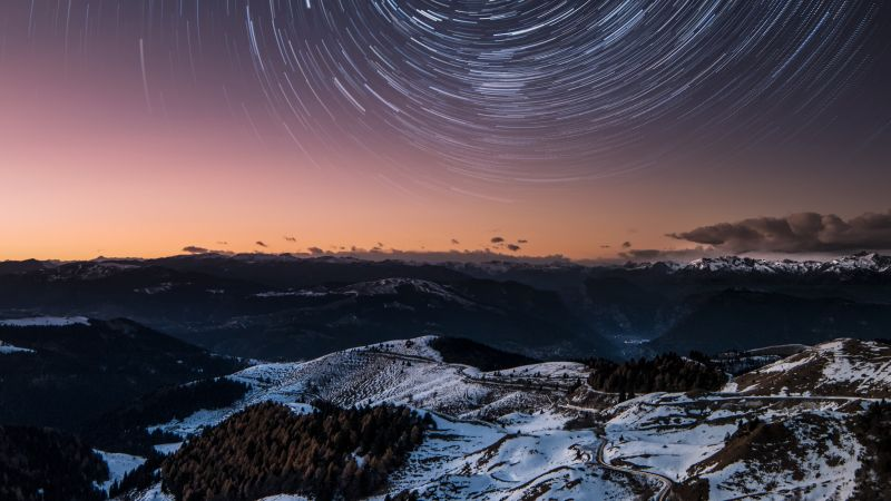 Dolomites, Italy, Mountain range, Snow covered, Mountains, Outer space, Galaxy, Astronomy, Star Trails, 5K, Wallpaper