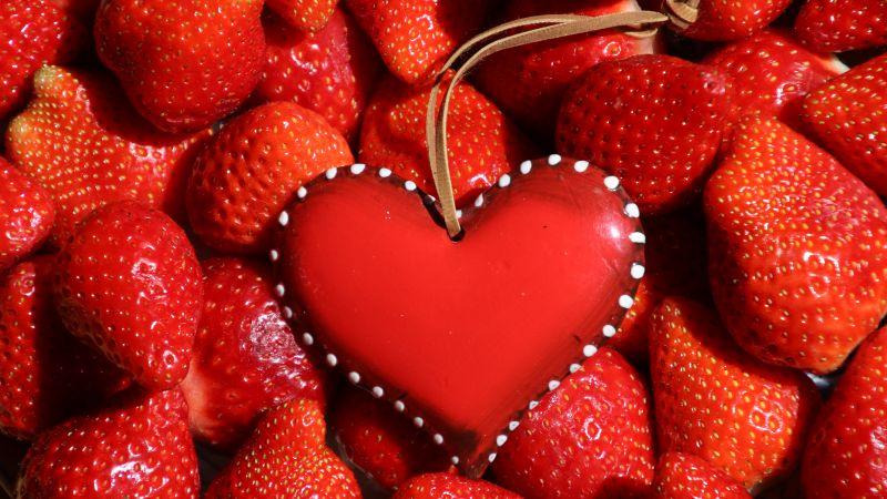 Red heart, Strawberries, Fruits, Fresh, Red background, 5K, Wallpaper