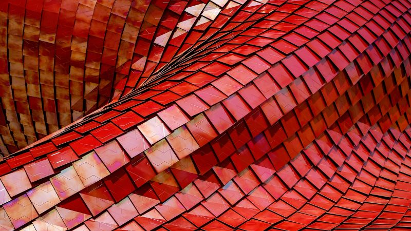 Red Roof, Tiles, Modern architecture, Pattern, Texture, Shapes, 3D, 5K, 8K, Wallpaper