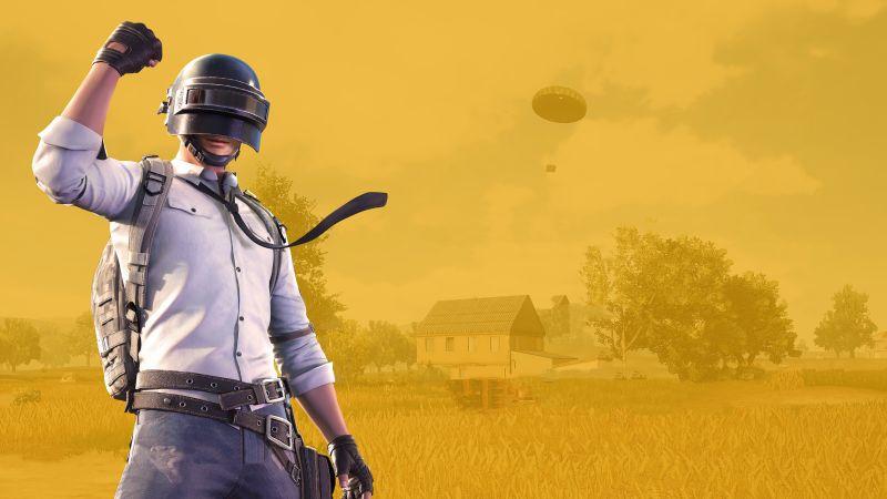 PUBG, PlayerUnknown's Battlegrounds, Level 3 helmet, Yellow background, Wallpaper