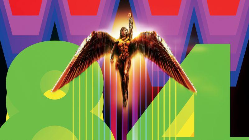 Wonder Woman 1984, DC Comics, Black background, 2020 Movies, 5K, Wallpaper