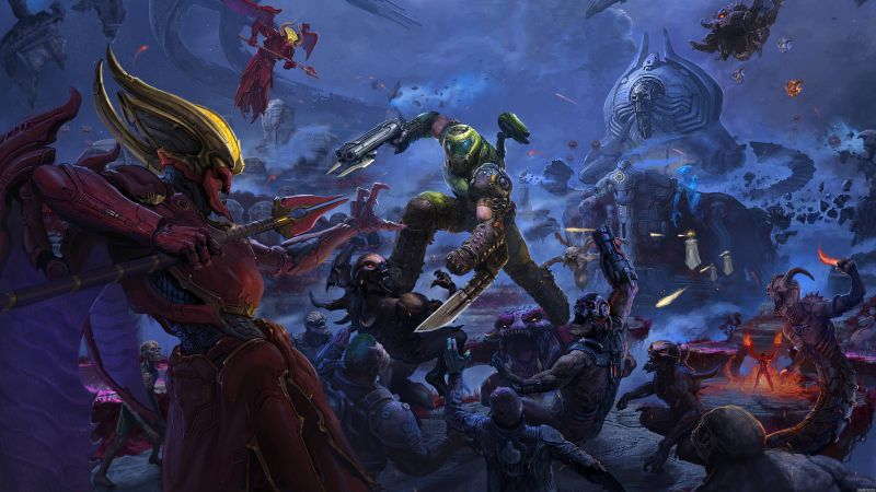 Doom Eternal: The Ancient Gods, Doom Slayer, PlayStation 4, Xbox One, PC Games, Google Stadia, 2020 Games, 5K, Wallpaper