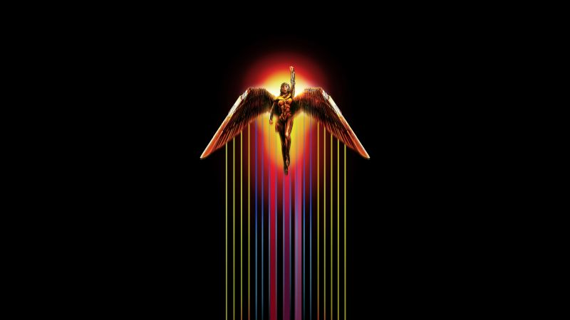 Wonder Woman 1984, DC Comics, Black background, 2020 Movies, 5K, 8K, Wallpaper