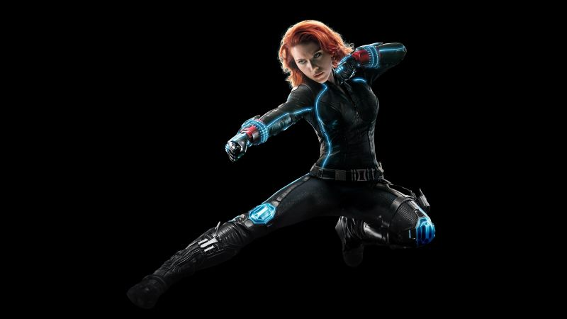 Black Widow, Scarlett Johansson, Black background, Avengers, Marvel Superheroes, Wallpaper