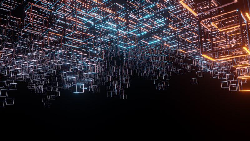 Cubes, Structure, Black background, Neon, Lighting, Hanging, Metal, Wallpaper